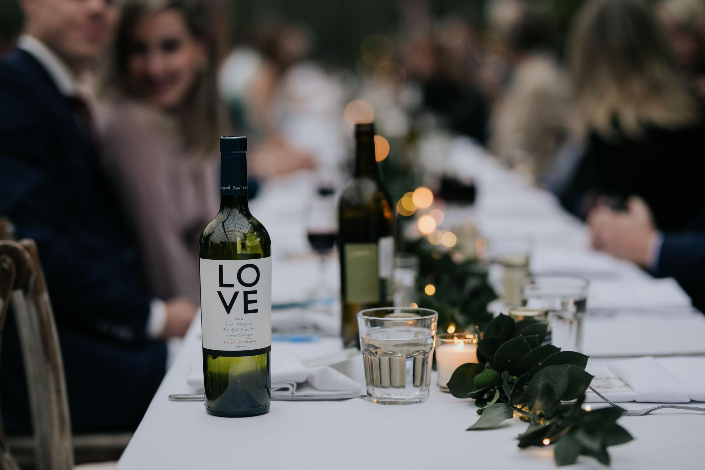 Love wine served at Saskatoon Farm Wedding Venue in Calgary, Alberta.