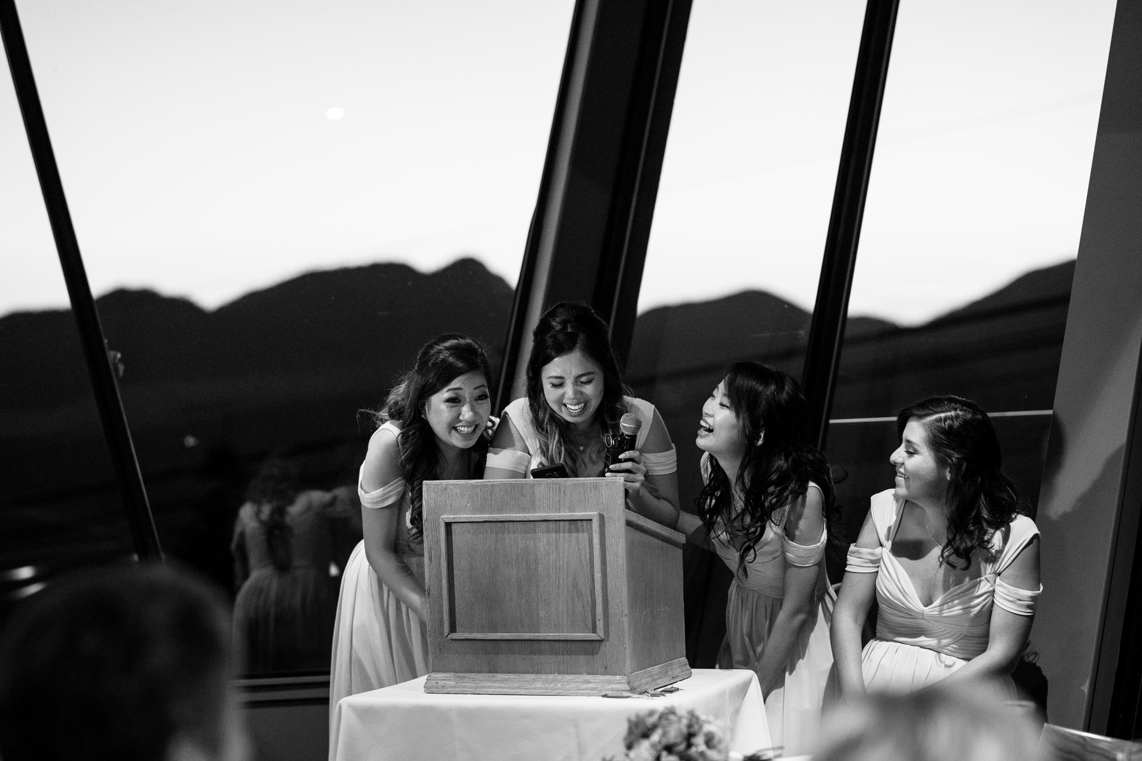 Bride's Maid Speech Laughing Happy Altitudes Bistro Grouse Mountain