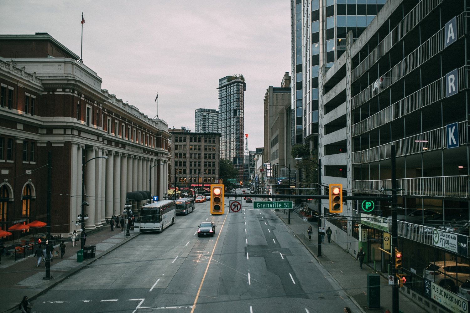 City scenes of Vancouver as light come on