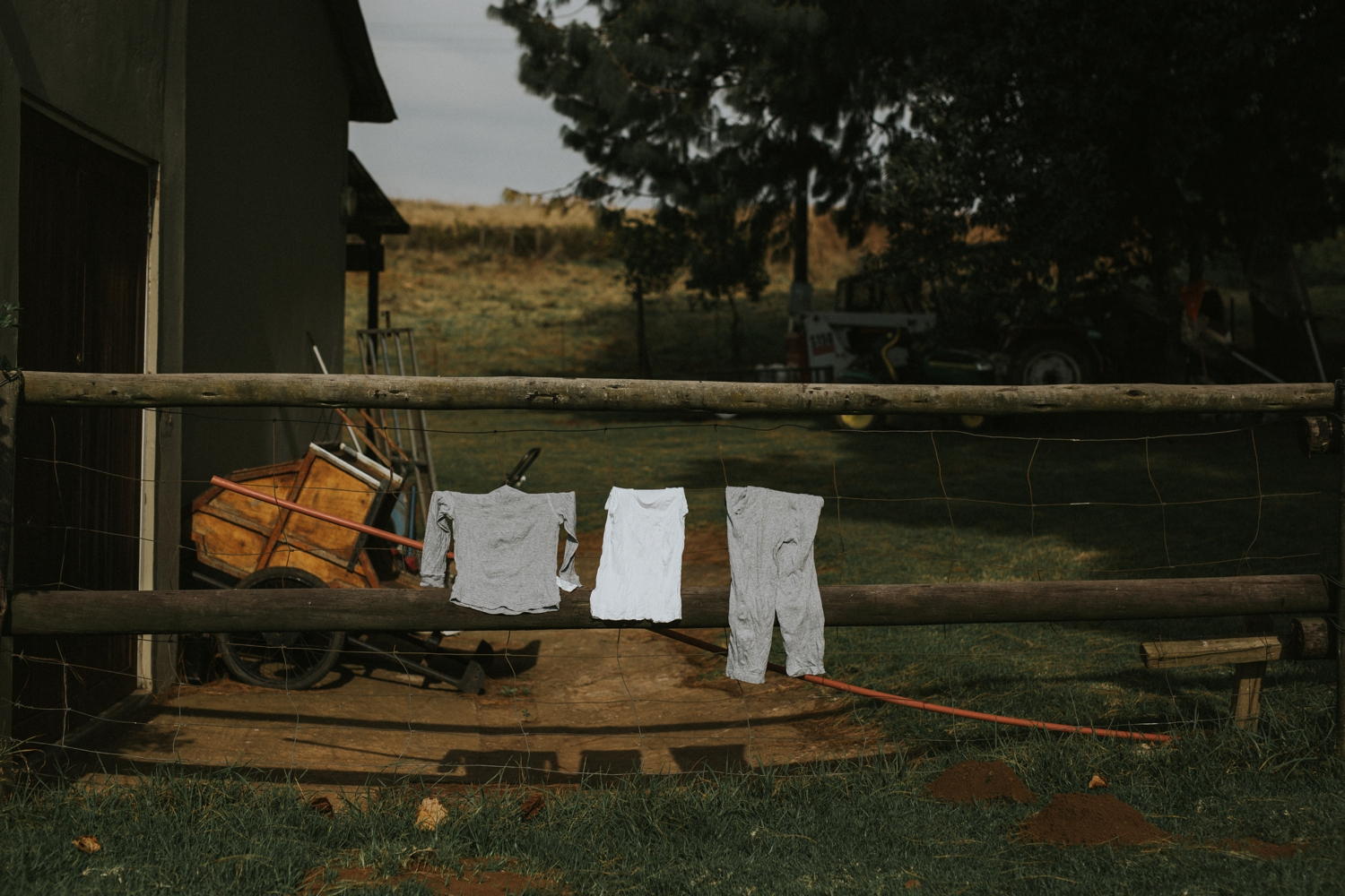 Candid Photo Of Washing On Line At Farm Wedding Venue Vancouver
