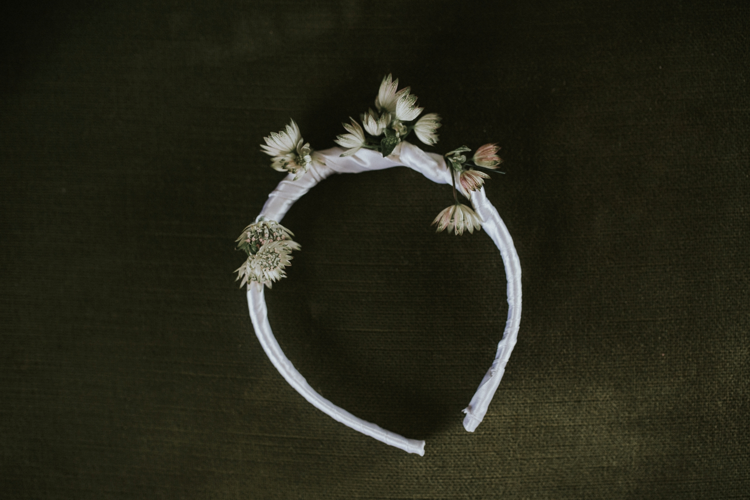 Flower Girl's Alice Band Flower Crown Fynbos White Ribbon