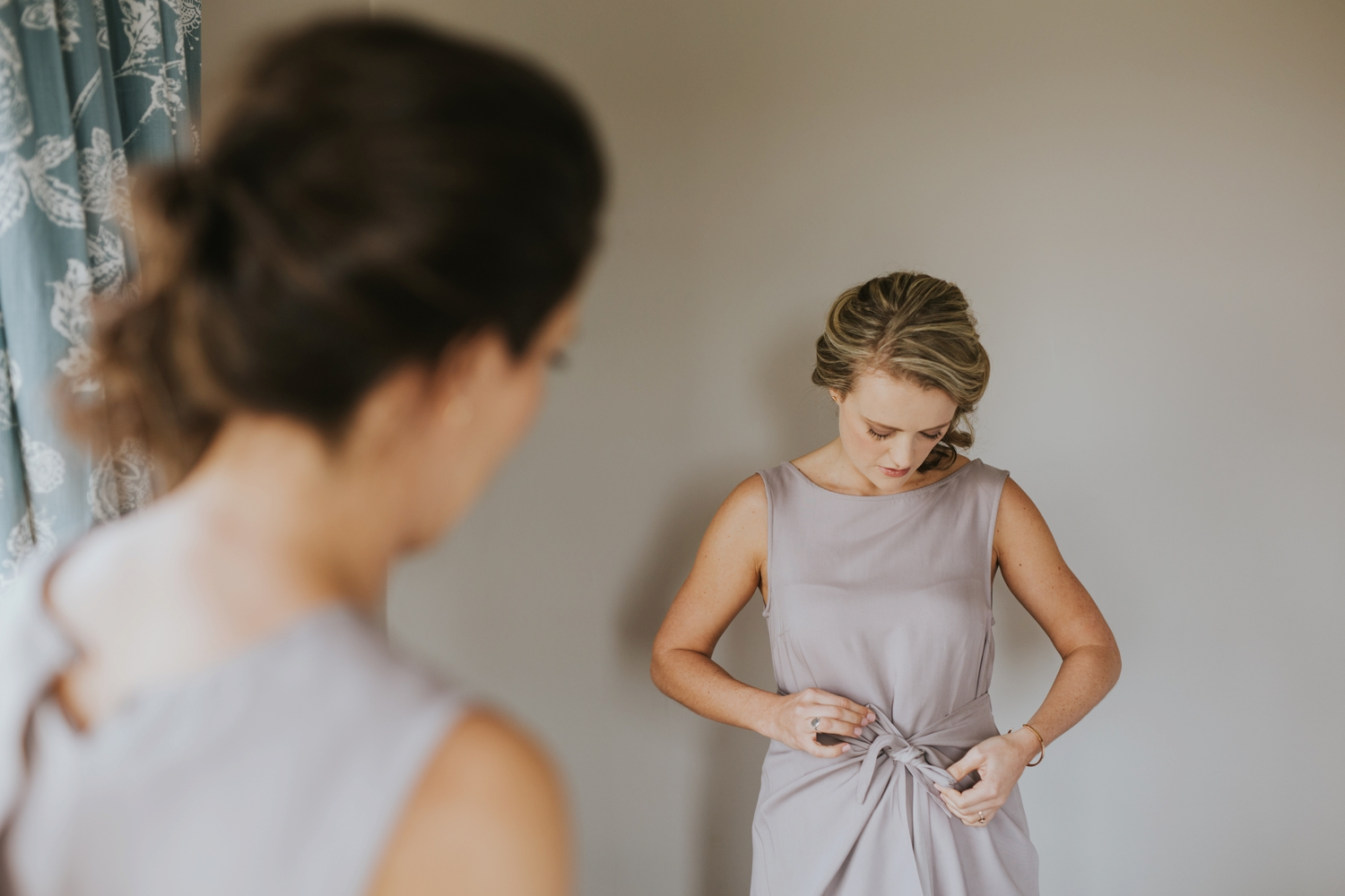 Bridesmaid Getting Dressed In Her Trending Wrap Tie Lavender Jane Sews Dress