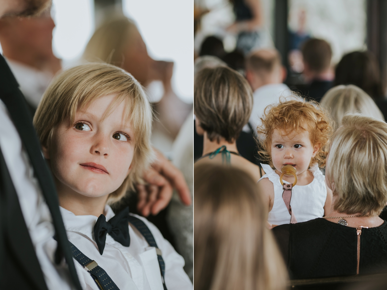 Candid and natural photos of children at Vancouver wedding ceremony