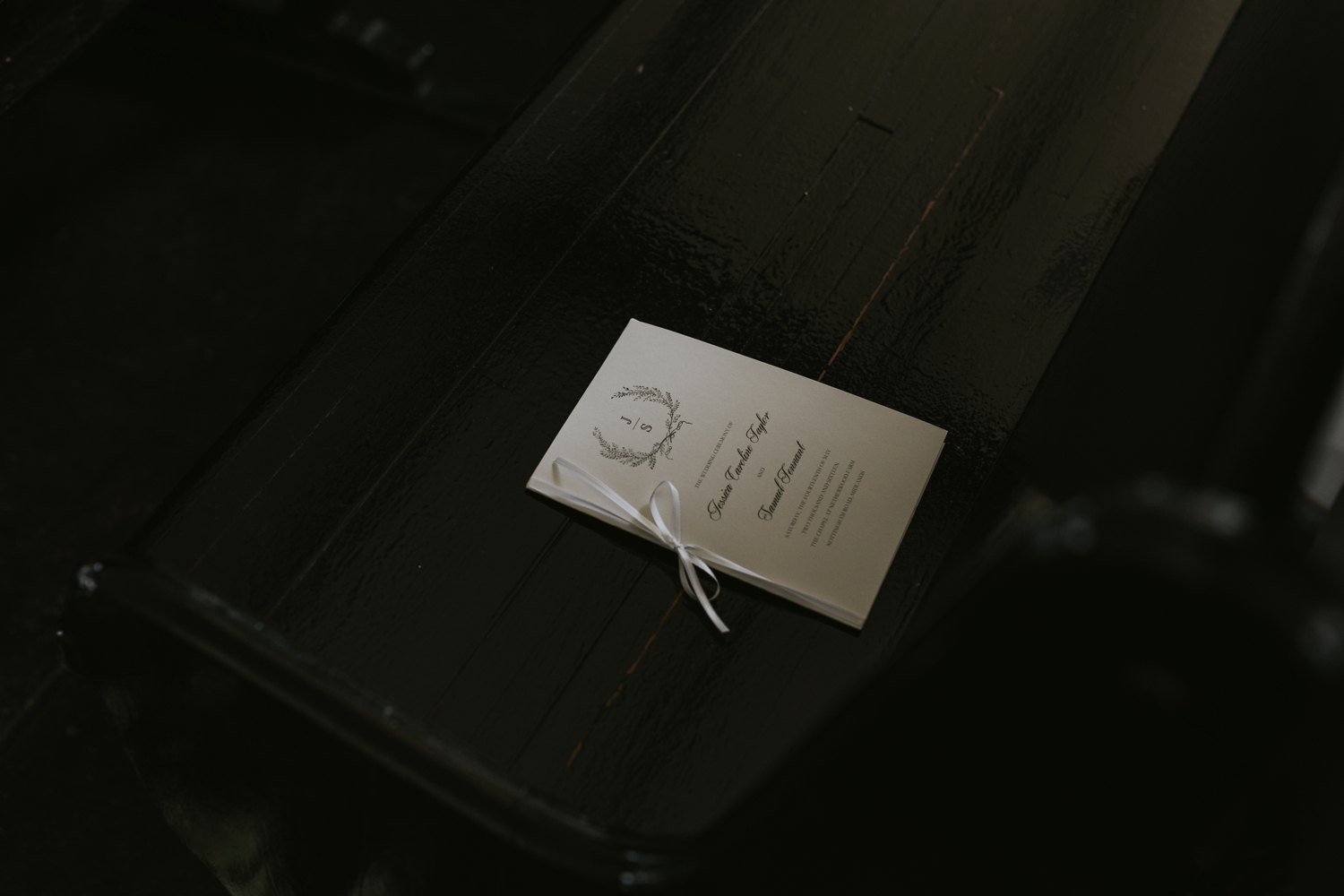 Wedding stationery inspiration with sketched wreath on chair at Vancouver wedding ceremony