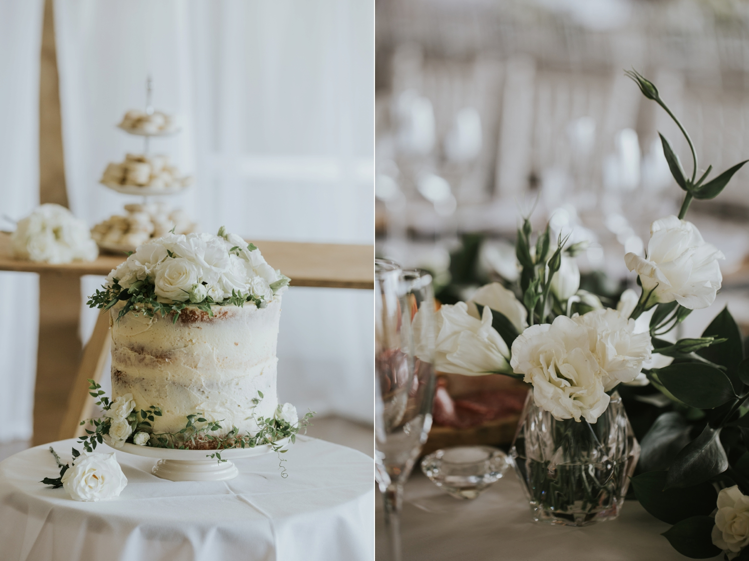 Vancouver wedding cake baker simple white vanilla cake with real roses and greenery on top
