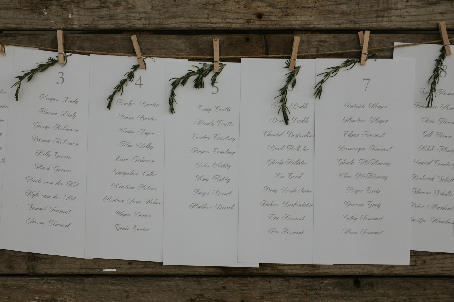 Minimalist Table Seating Plan Wooden Board Rosemary And Wooden Peg