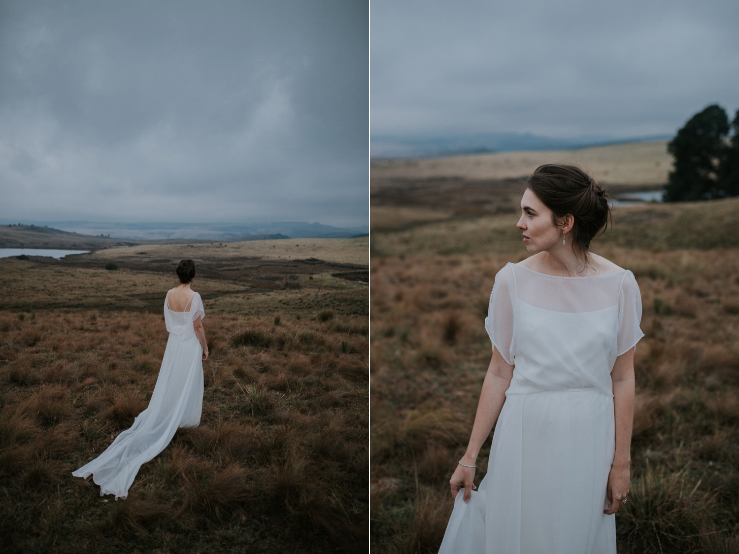 Bride stands in open, wide landscape in wedding portrait photography session by documentary style Vancouver wedding photographer