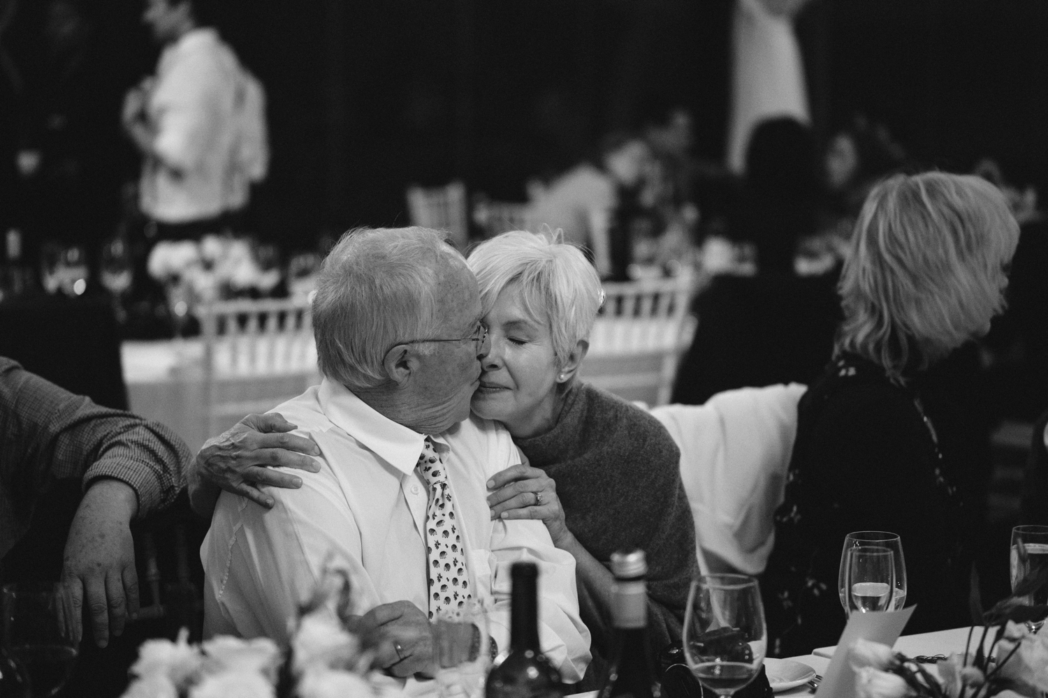 Candid documentary style moment of old couple at Vancouver wedding