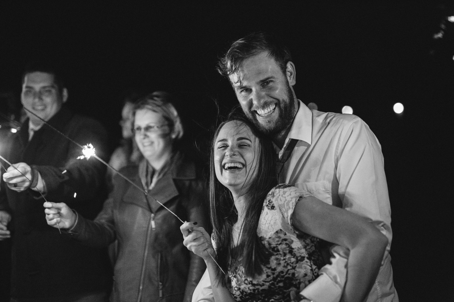 Epic photo of bride and groom's sparkler wedding exit at Scandi style wedding at the Pipe Shop in North Vancouver