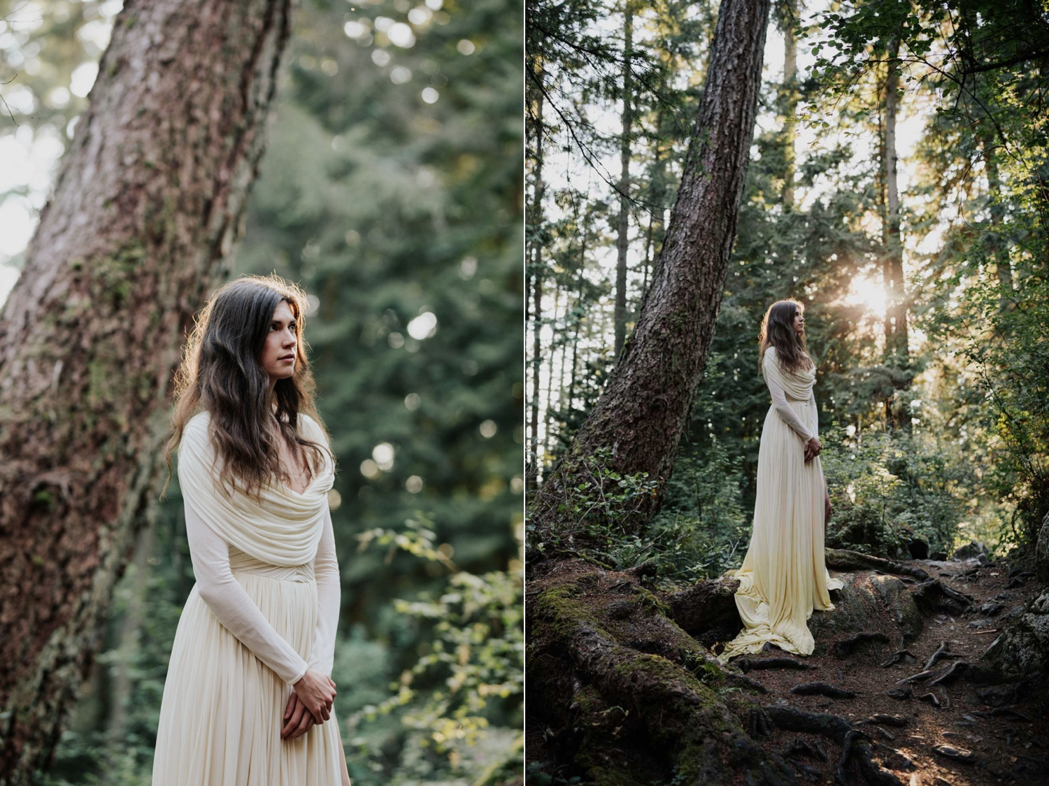 Bride In Camomile Dyed Slow Movement Wedding Dress In North Vancouver Forest