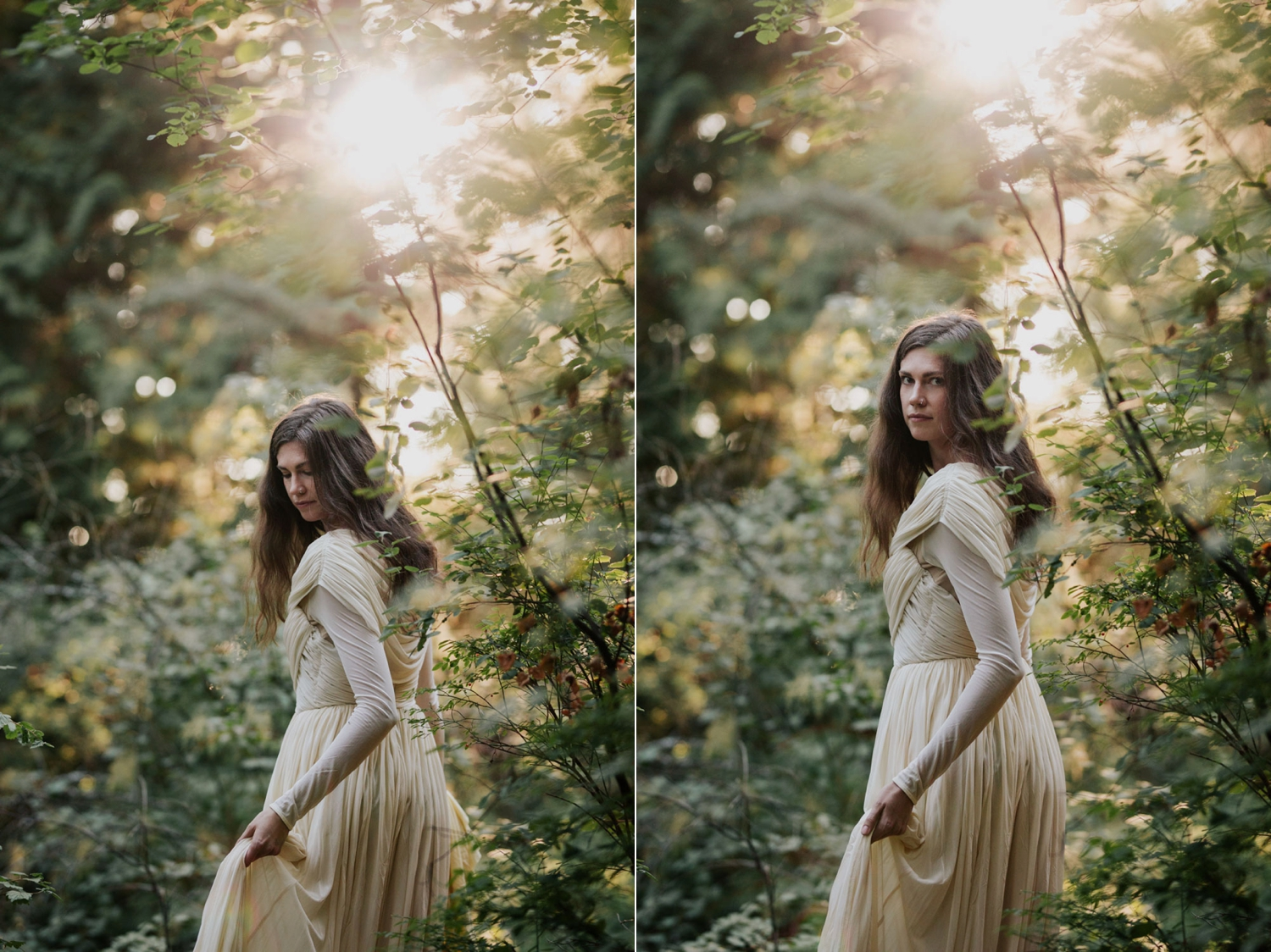 Golden Sunlight Shines Through Forest Trees Onto Boho Vancouver Island Bride Wearing Long Sleeve Dress