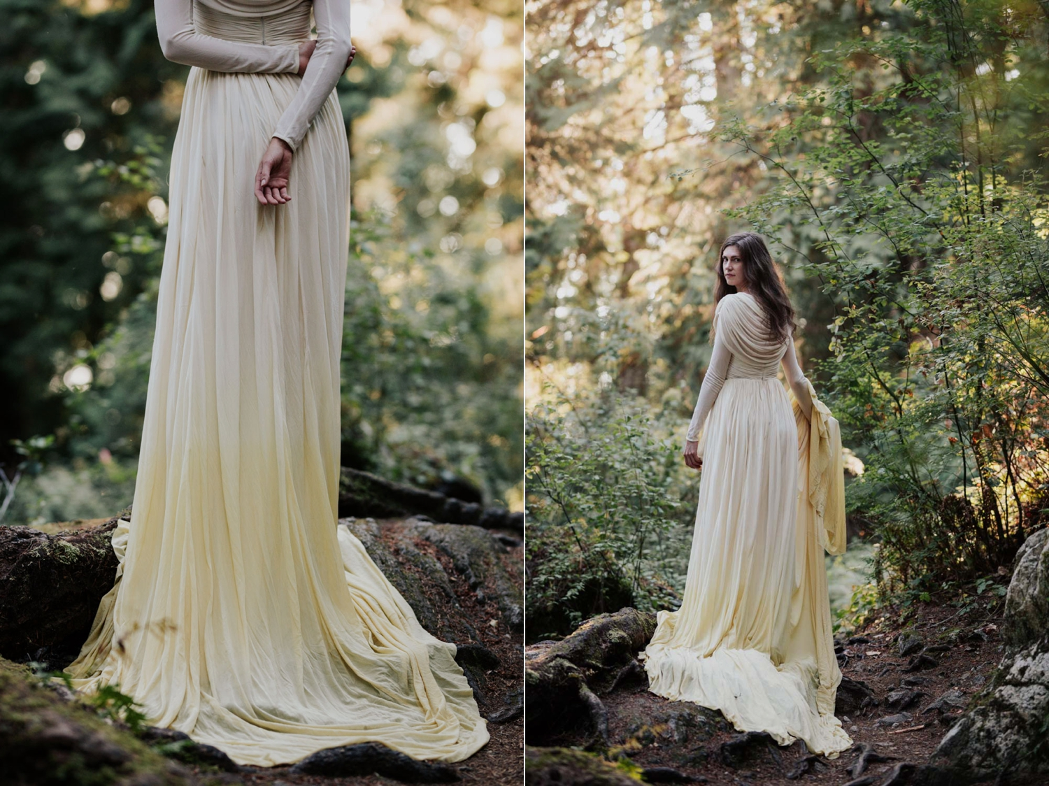 Sunlight Shines Through Forest Onto Boho Vancouver Island Bride Wearing Long Sleeve Dress
