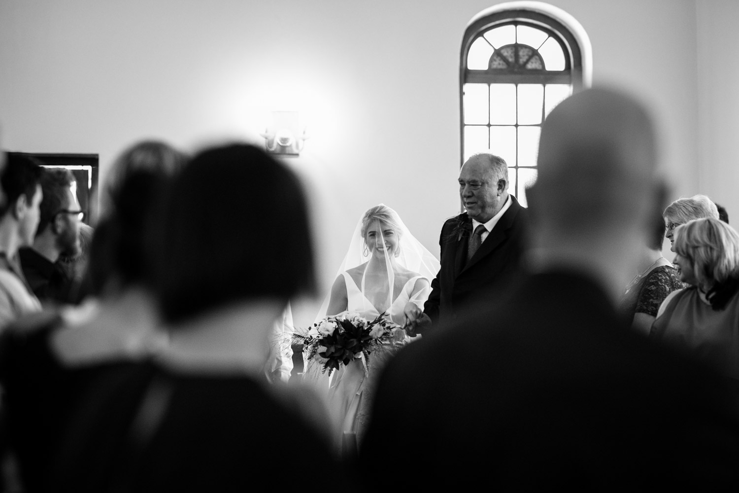 Classic Simple Bride Walking Down Aisle With Father