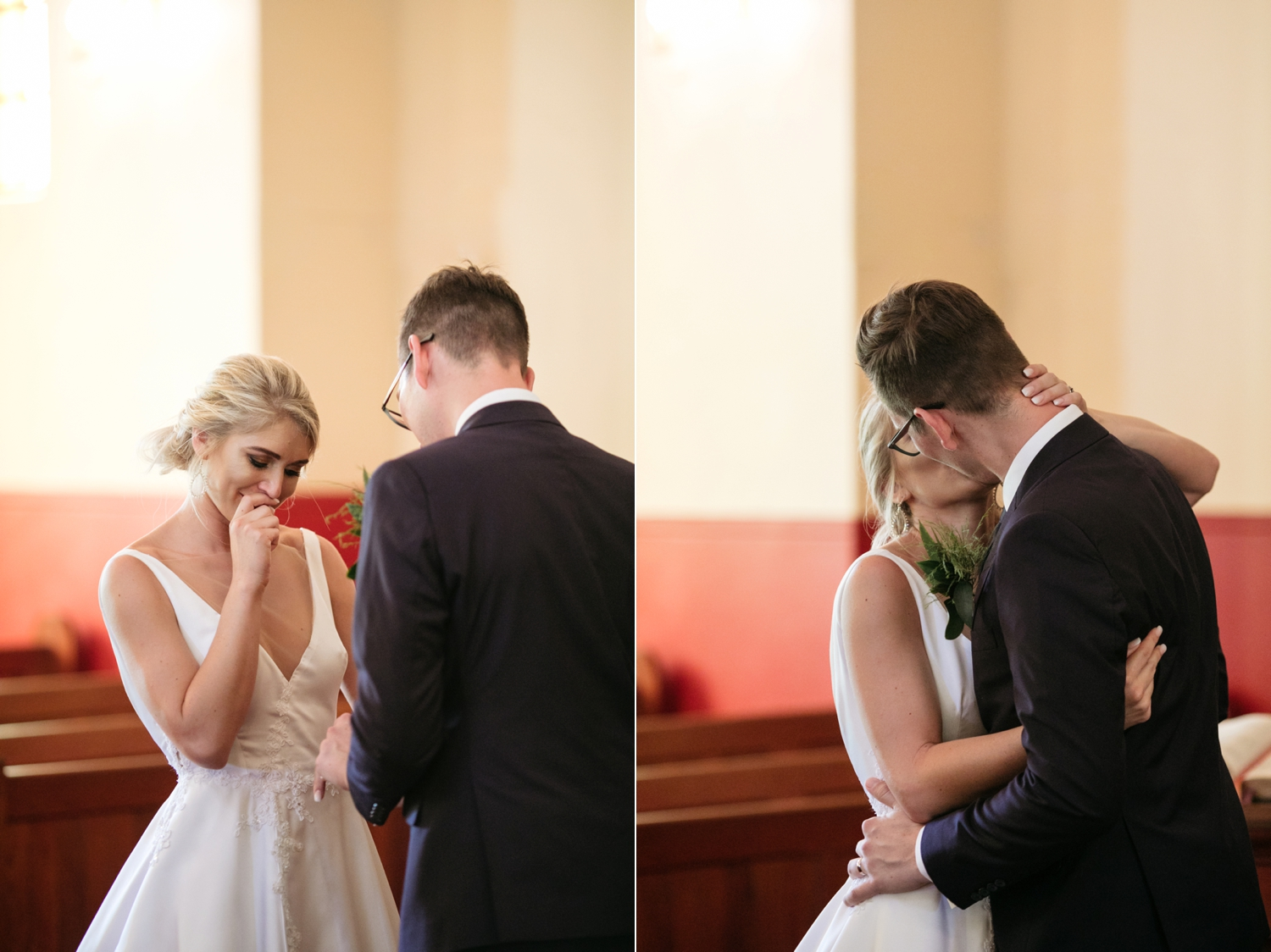 Emotional Candid Moment Bride Listens To Groom Say Vows And First Kiss