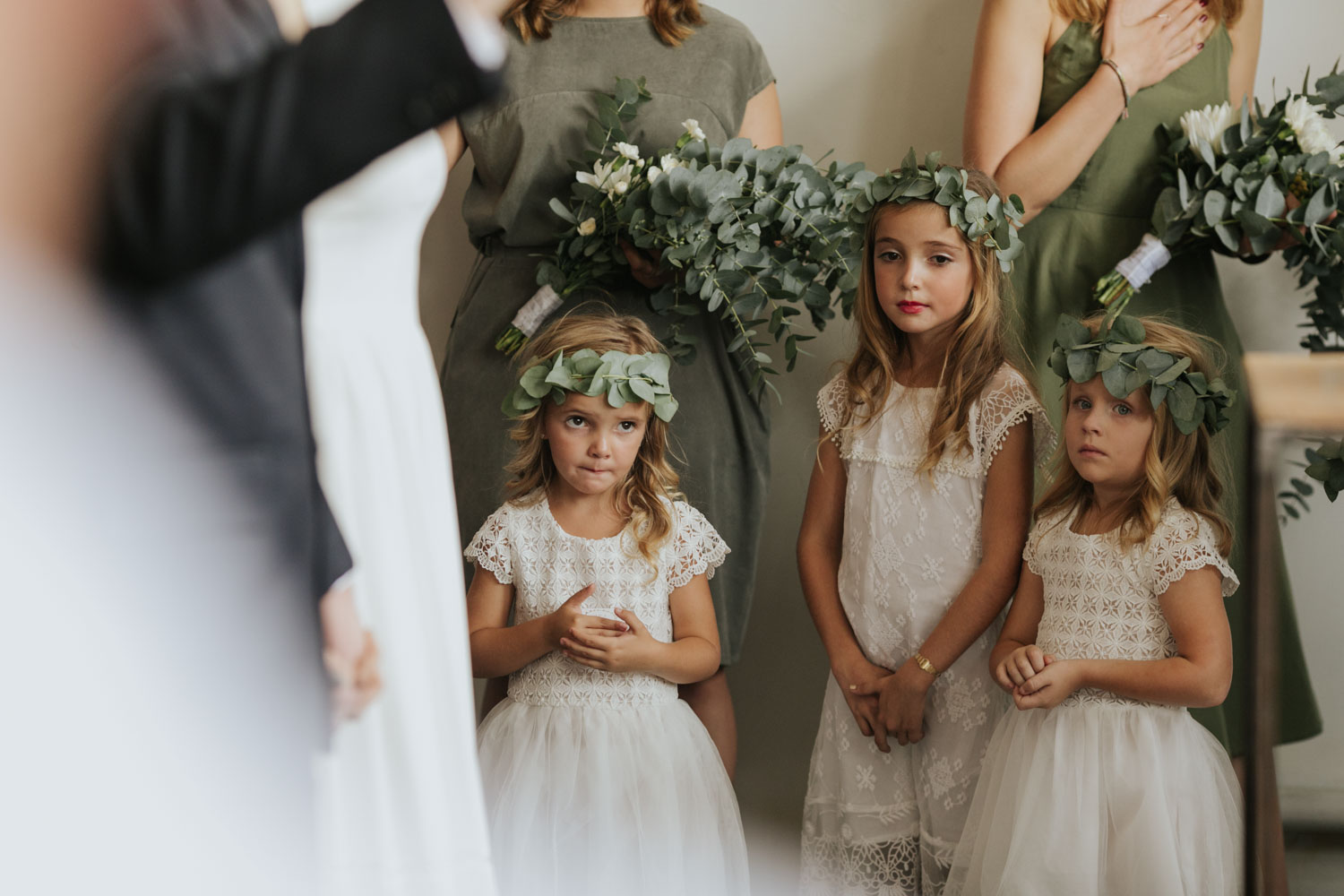 Flowers Girls In Vancouver Wedding Ceremony Wear Lace Dresses And Leaf Crowns