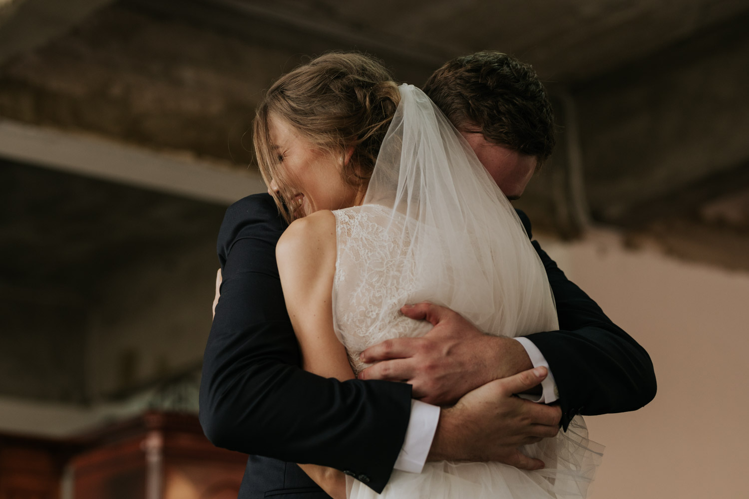 Raw Un-staged Happy Emotional Moment Between Bride And Groom