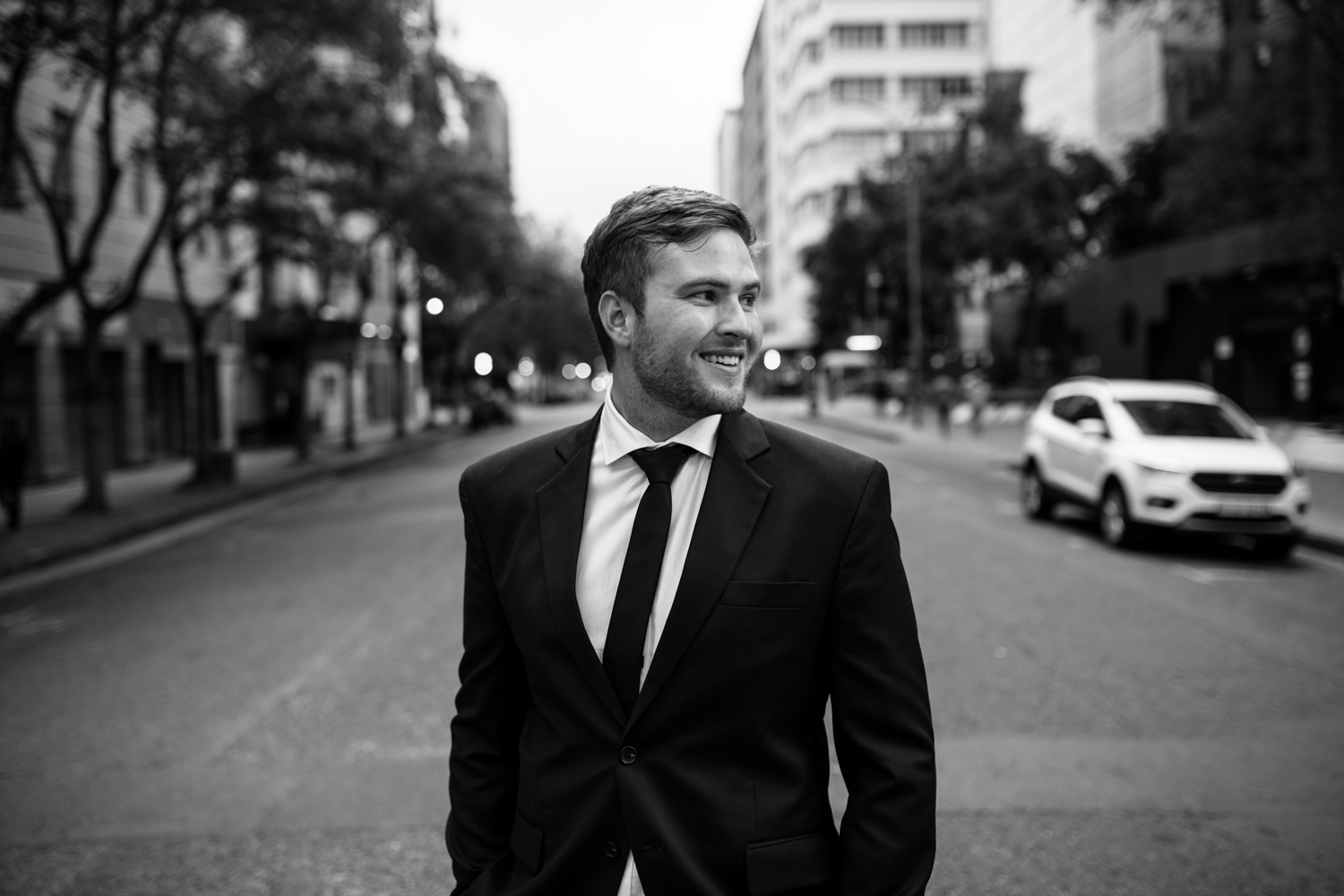 Natural Portrait Of Groom On Vancouver City Streets