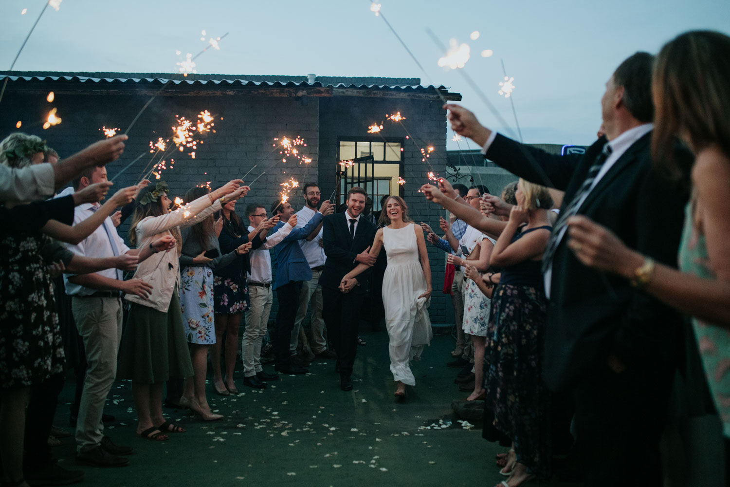 Sparkler Entrance Tunnel Wedding Photo Idea