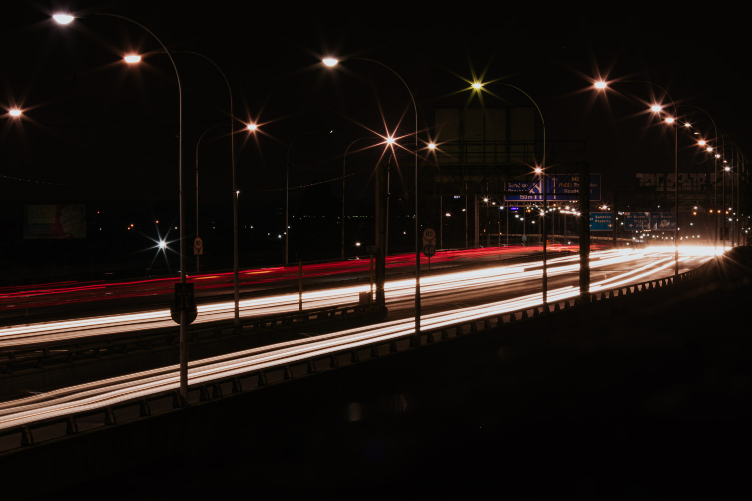 Slow Shutter Photo Car Lights On Bridge