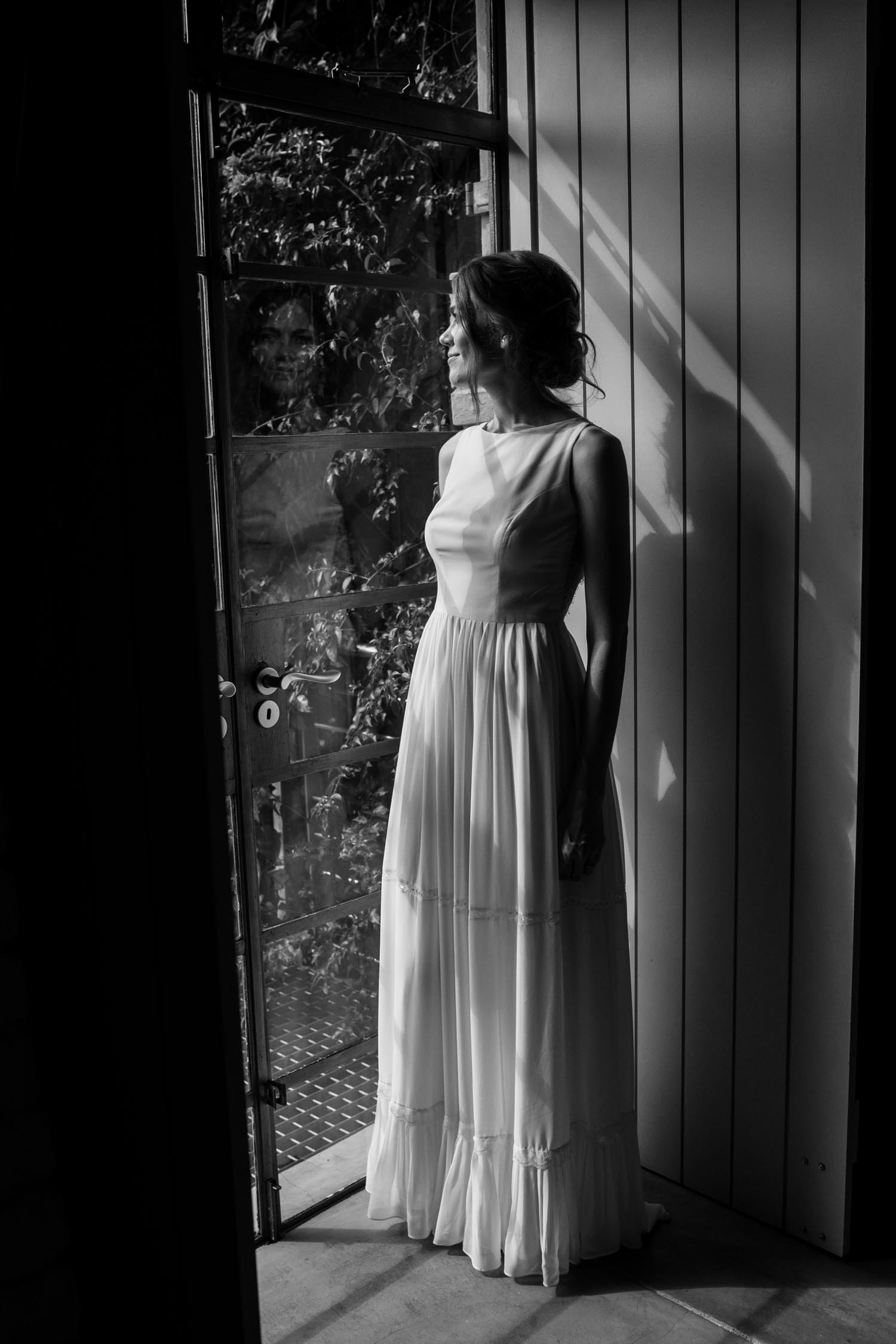 Interesting Non Cheesy Bridal Portrait Of Bride Wearing Simple High Necked Wedding Dress