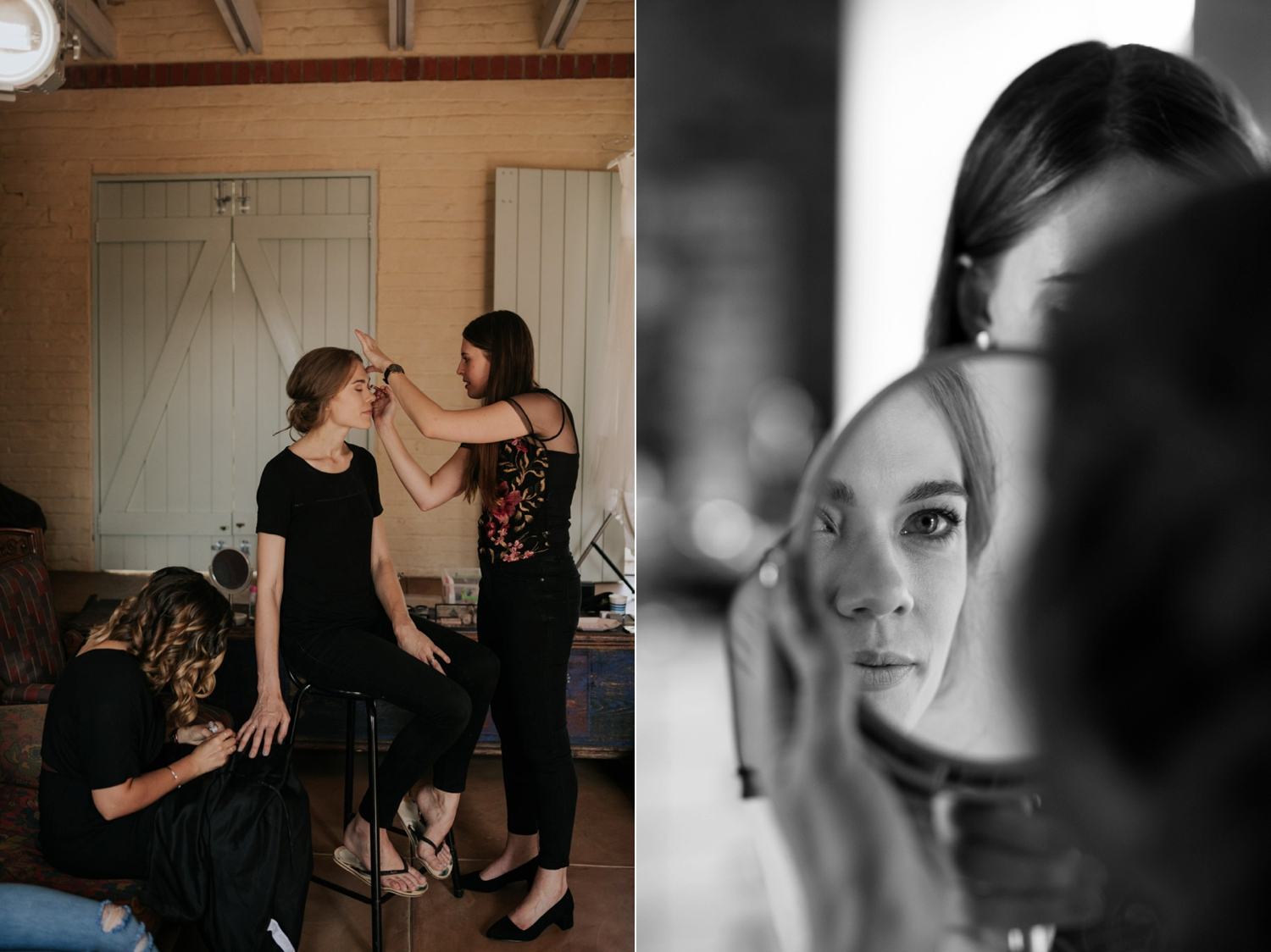 Bride Gets Ready In Unique Old Photographic Studio - Great Idea For A Place To Get Ready Before Your Wedding