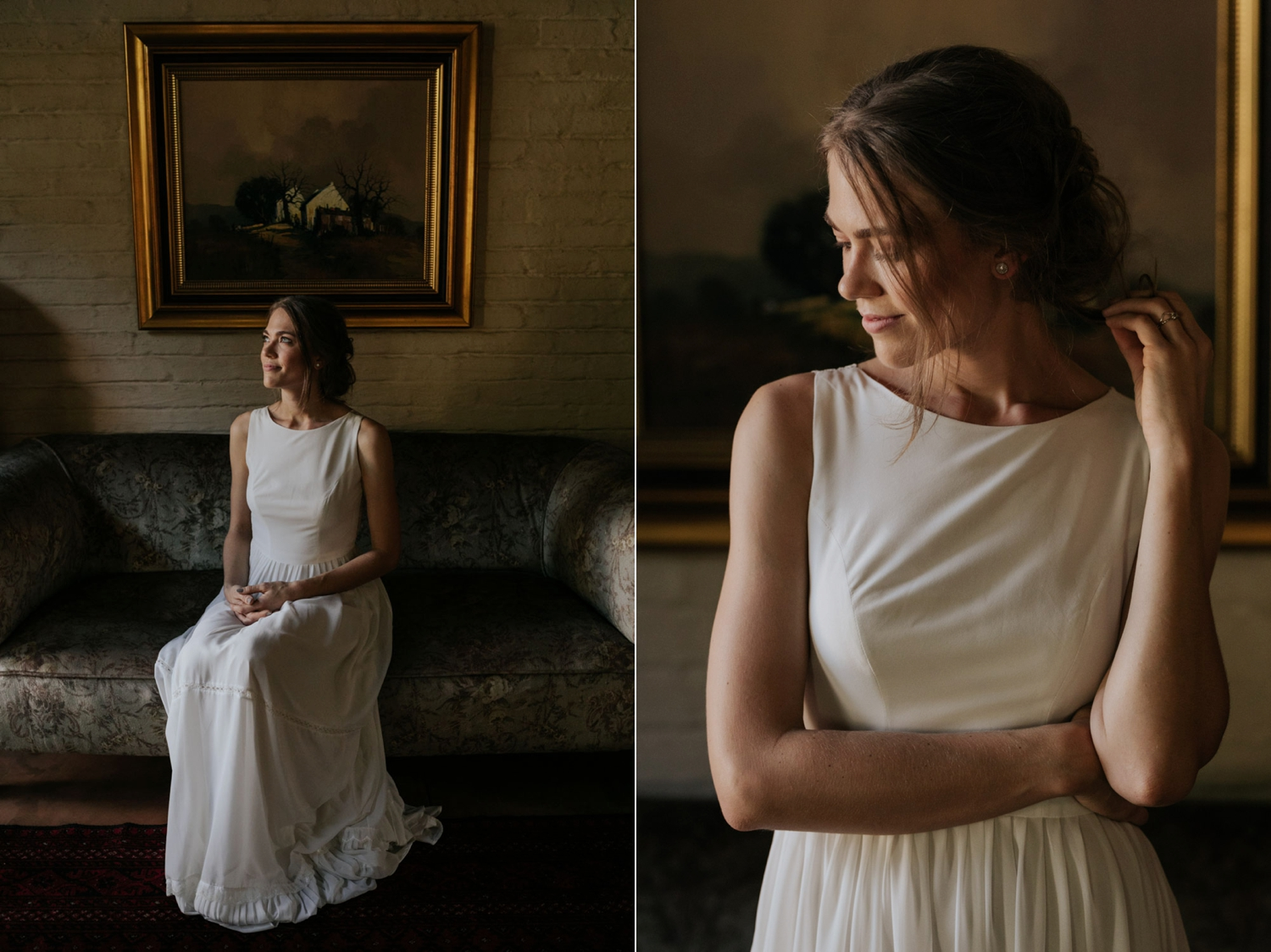 Beautiful Natural Simple Wedding Portraits Of Bride In Old Vancouver House