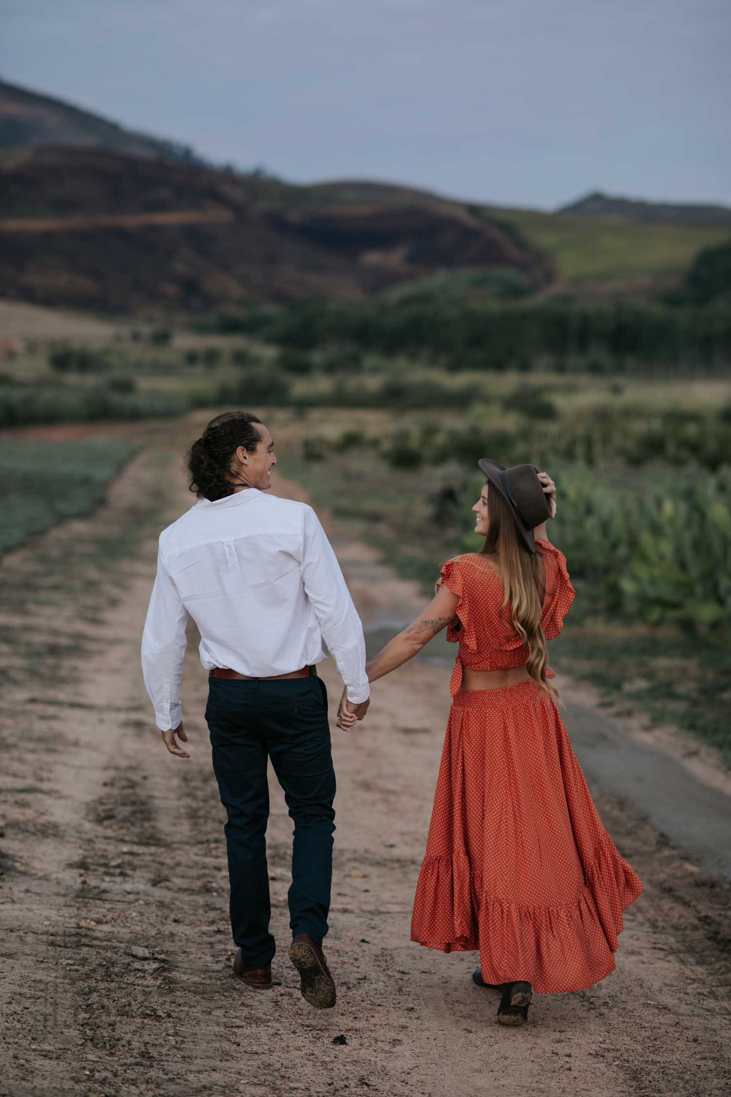 Boho Long Haired Couple Engagement Photo Shoot At Babylonstoren Cape Town