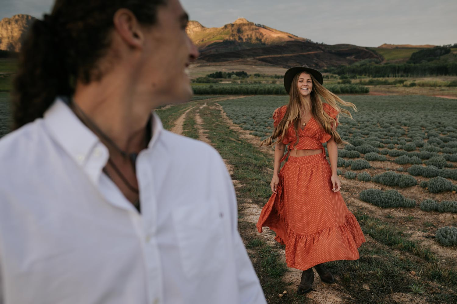 Boho Gypsy Engagement Photo Shoot Outfit Orange Free People Dress Felt Hat