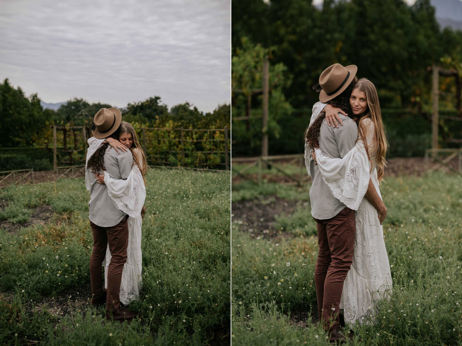 Boho Bride And Groom Stand in Camomile Field at Babylonstoren Cape Town Wedding Venue