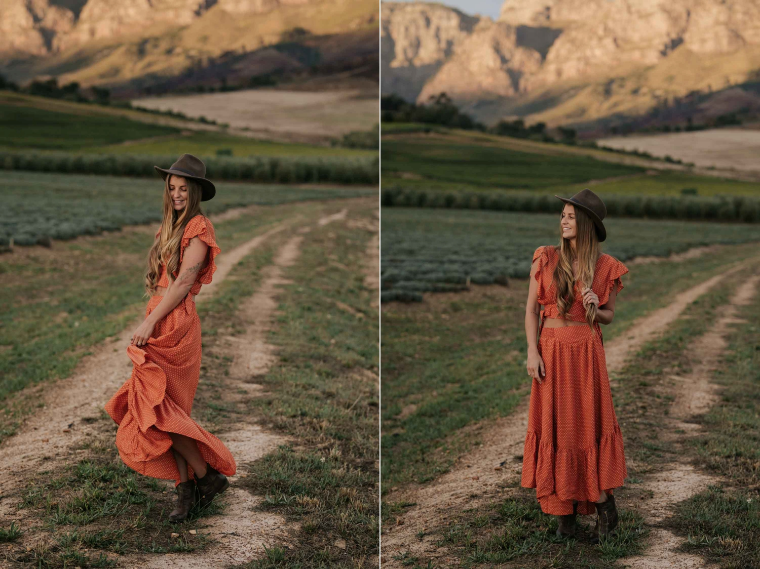 Boho Gyspy Engagement Photo Shoot Outfit Orange Free People Dress Felt Hat