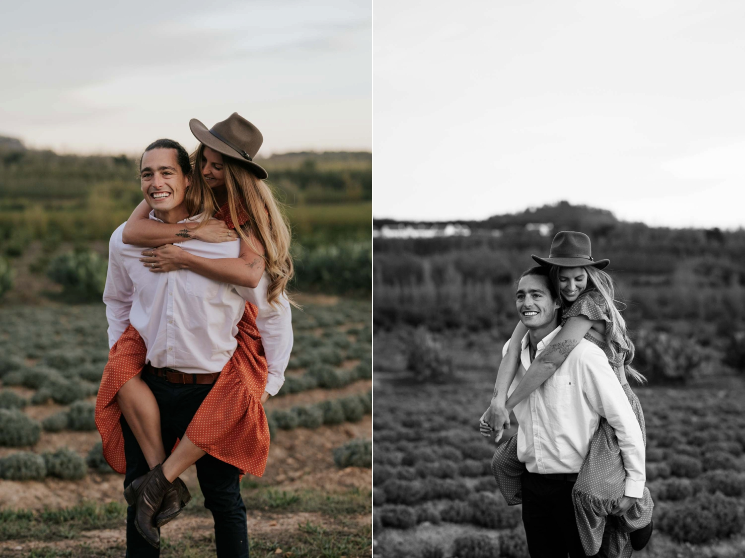 Boho Gypsy Couple Engagement Piggyback Ride In Babylonstoren Farm Fields Below Mountains