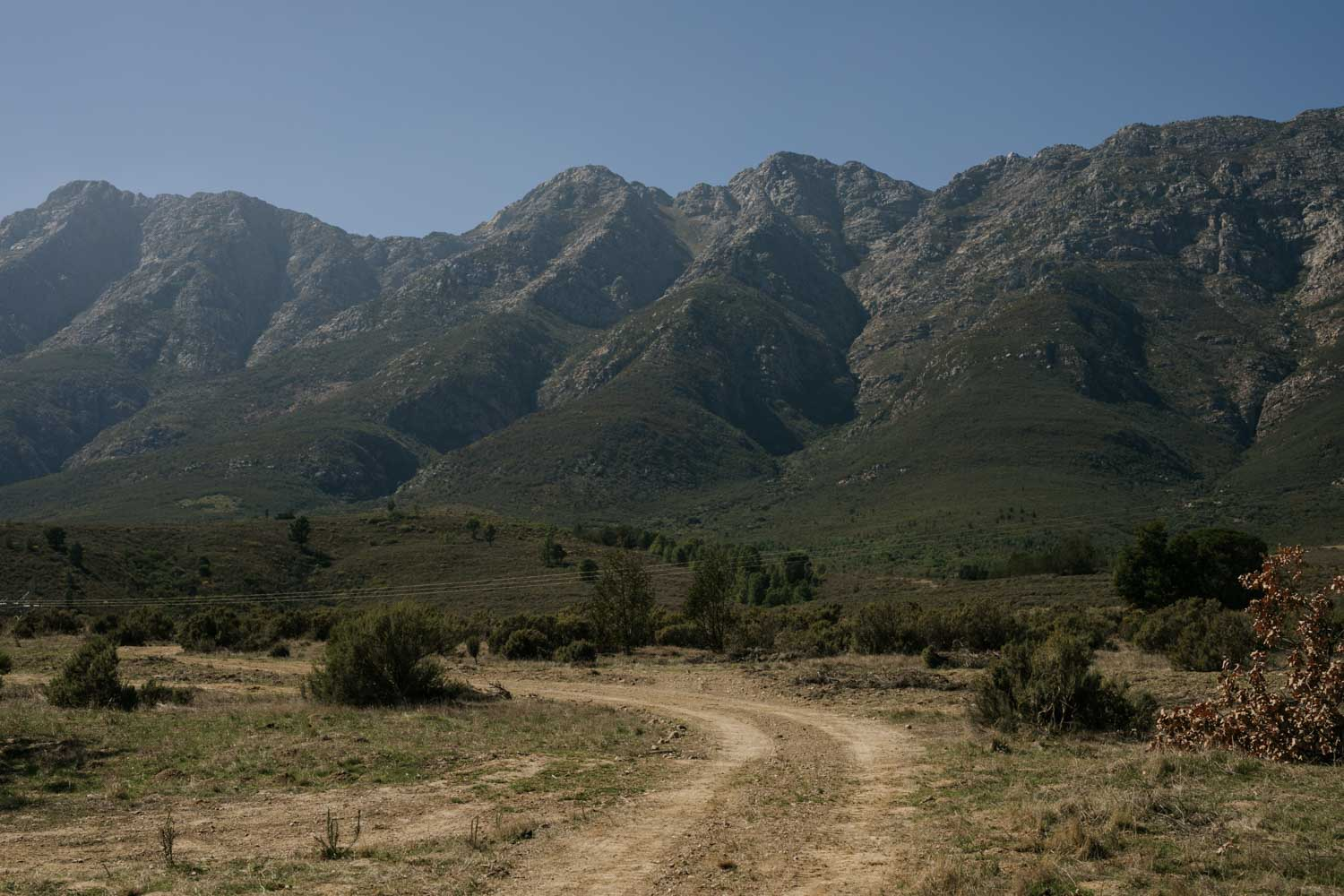 A road leading to the Tulbagh Mountain, near Cape Town