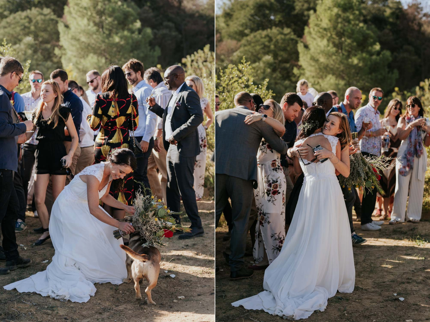Fun and authentic bride patting her dog after her wedding ceremony
