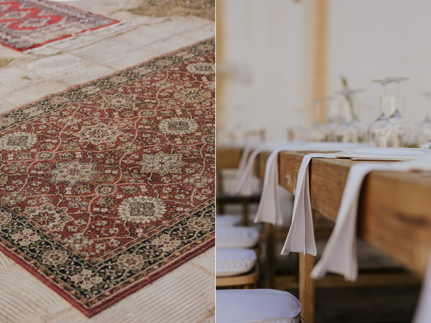 Old Persian carpets used in wedding reception hall