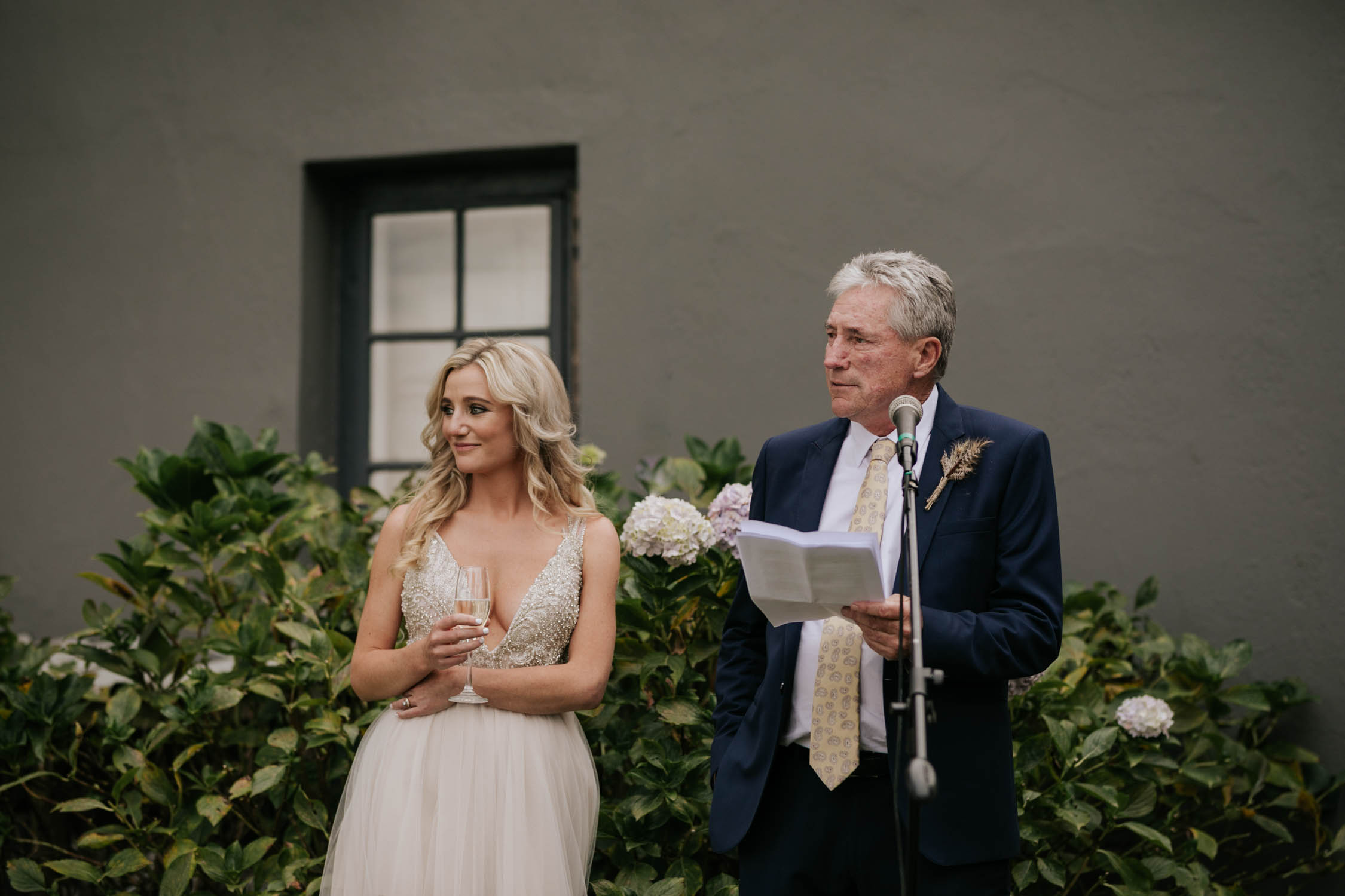 Father of the bride saying a speech to his daughter