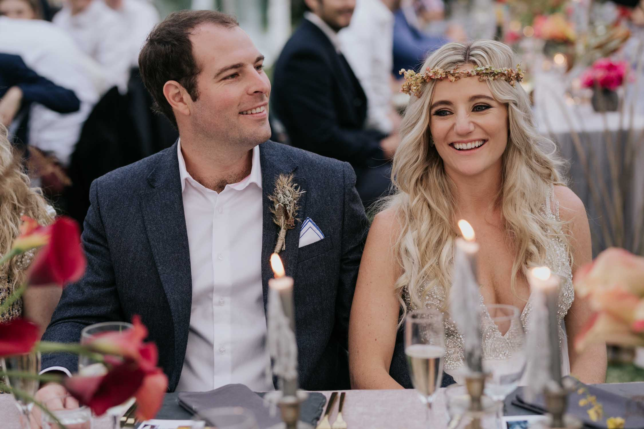 Candid and emotional photographs of guests and the bride and groom enjoying themselves and laughing during a wedding reception and during speeches.