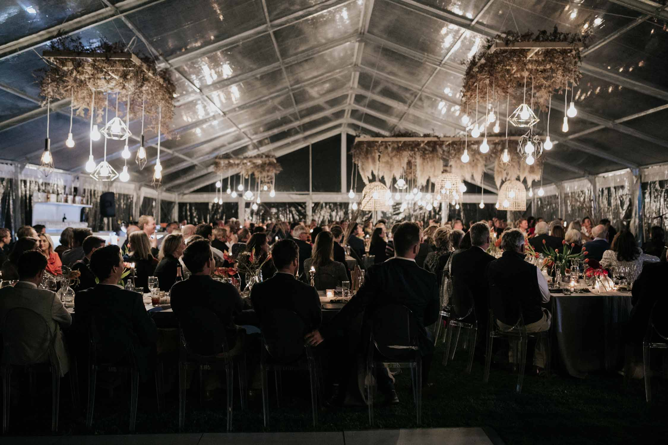 Glass wedding tent in the Natal Midlands at night time