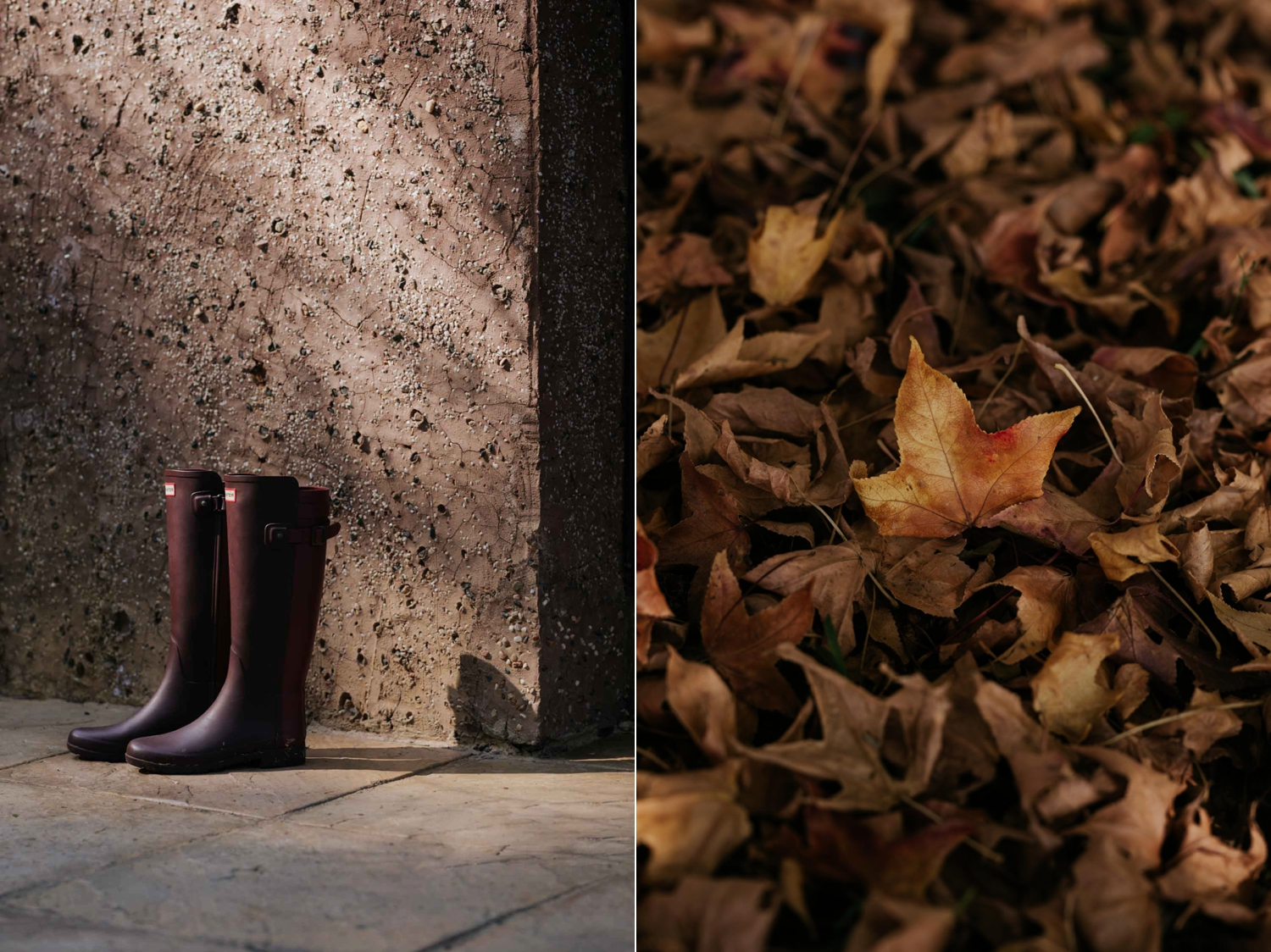 A pair of burgundy Hunter boots sitting outside the front door and a close up detailed photograph of golden brown Autumn leaves on the ground