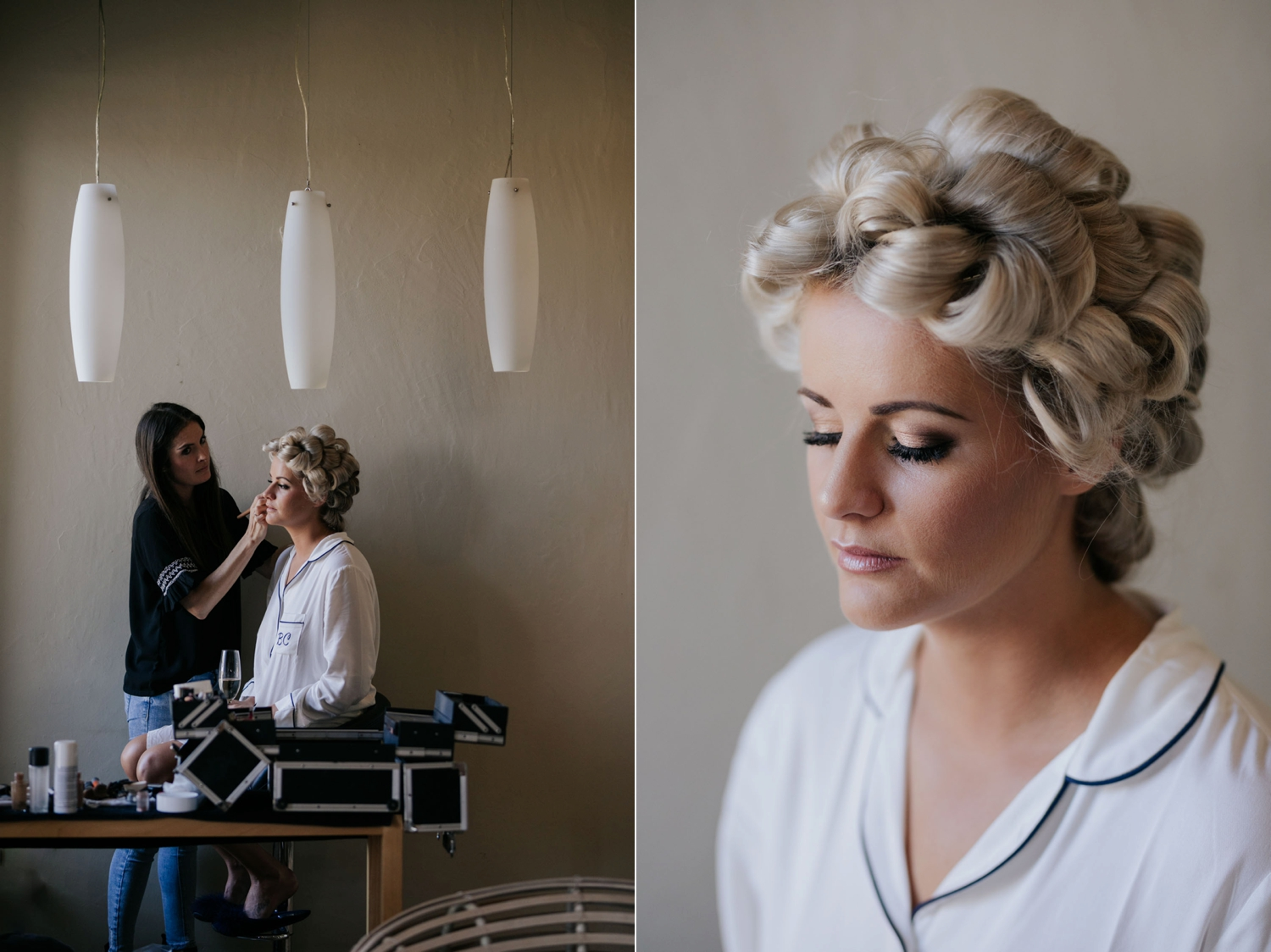Beautiful blonde bride getting her natural makeup done with curls in her hair. Beautiful close up photograph of bridal makeup.