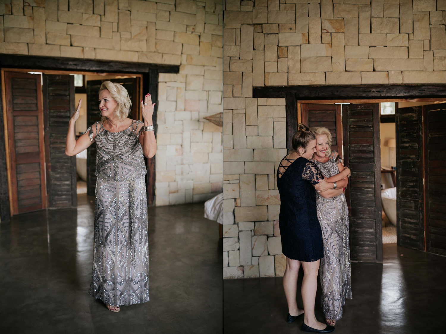 Emotional moment when mother of the bride sees her daughter all ready in her wedding dress for the first time