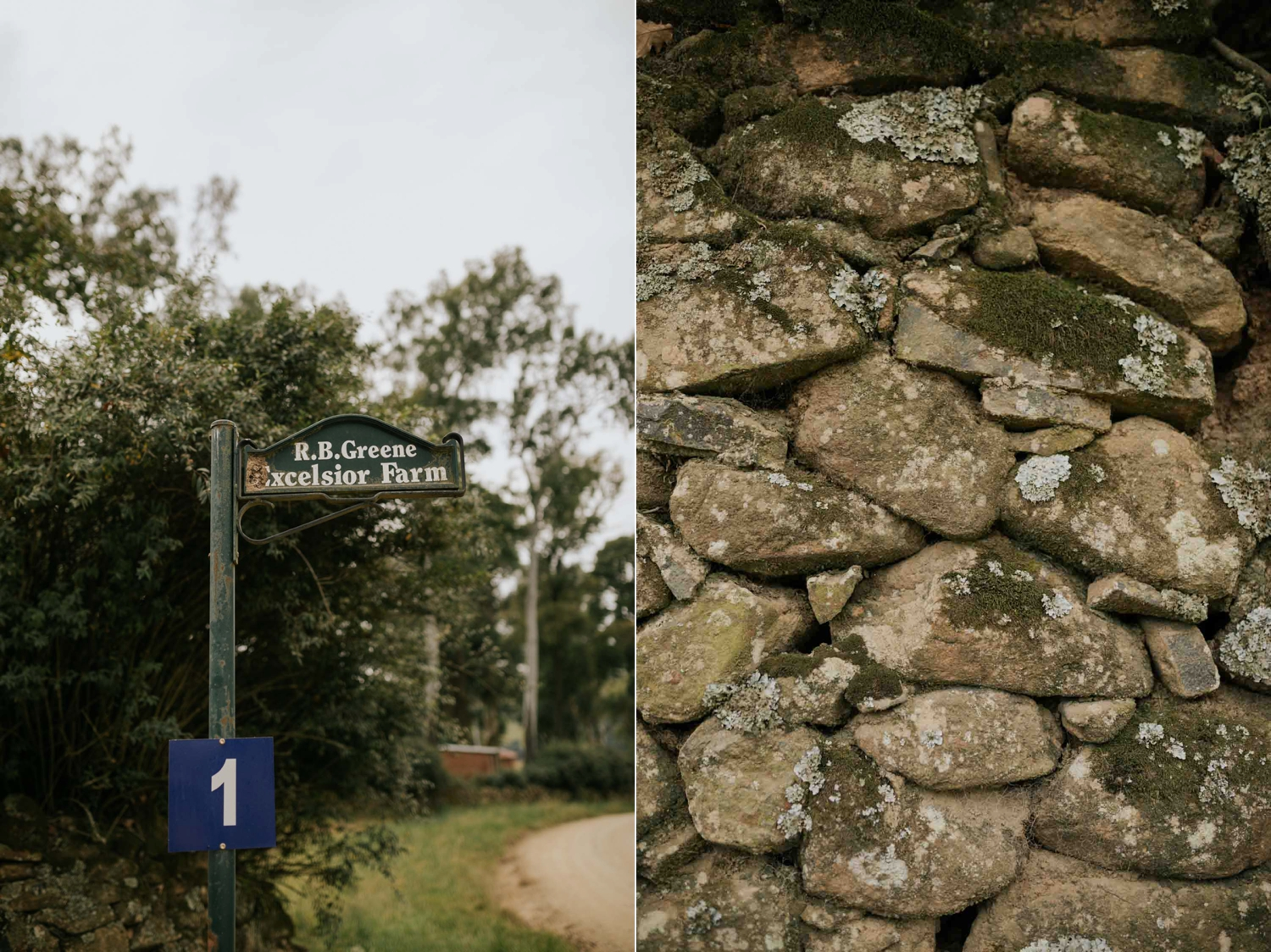 Farm sign and stone wall