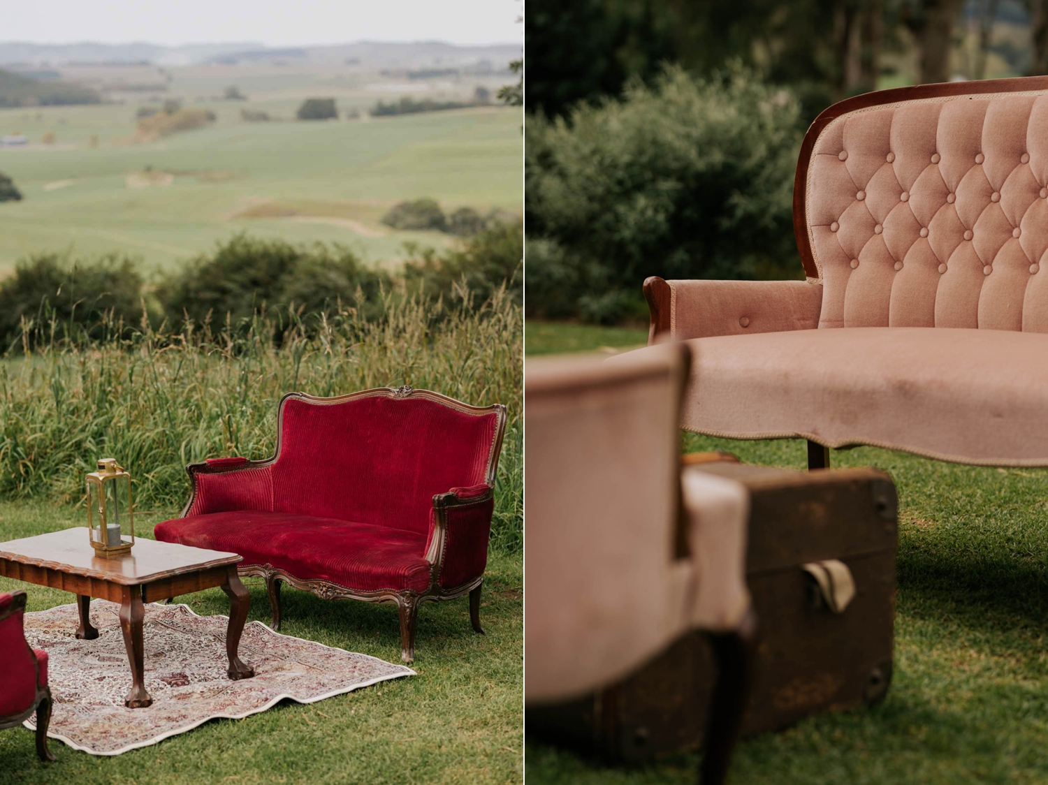 Red and pink pintage couches on lawn for wedding canapes and golden hour
