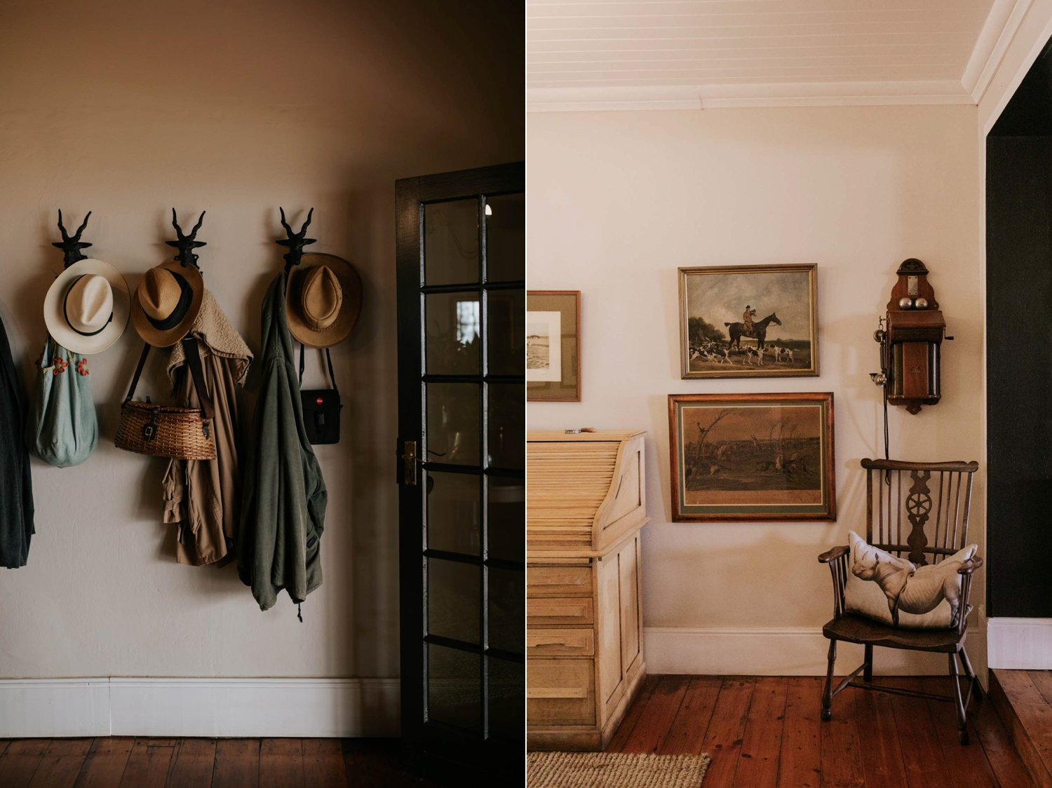 Coat hook with hats and farm living space