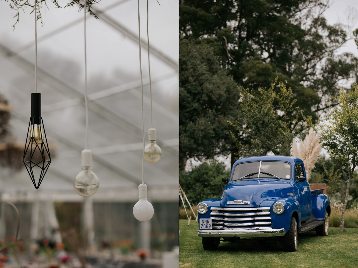Geometric shaped Eddison light bulbs hanging from tent for wedding decor and a old vintage blue farm truck