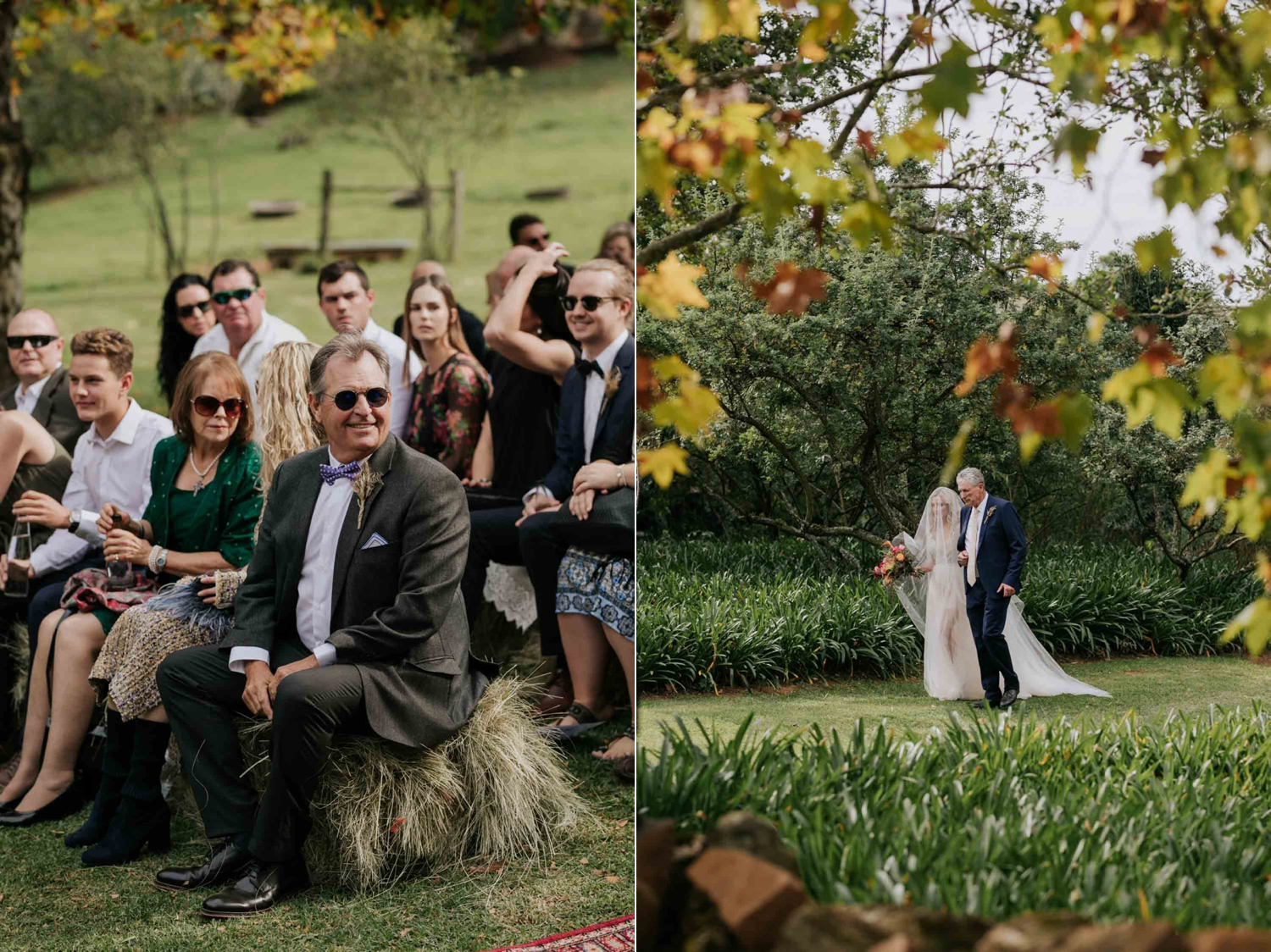 Father of the bride walking daughter down the aisle under the Autumn tress on a farm. Guests watching bride walk down the aisle.