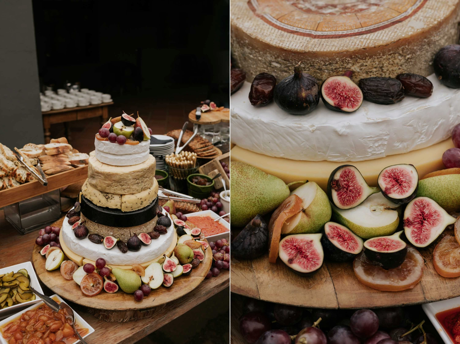 Wedding cake made up of different layers of cheese and decorated with fresh fruit like figs and pears and dates. Great idea for a savoury and different wedding cake.