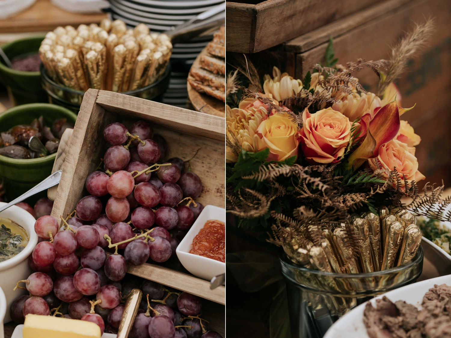 Harvest table spread for canapes and snacks during cocktail hour after wedding ceremony. Vintage gold cutlery, dips and spreads and fresh fruit.