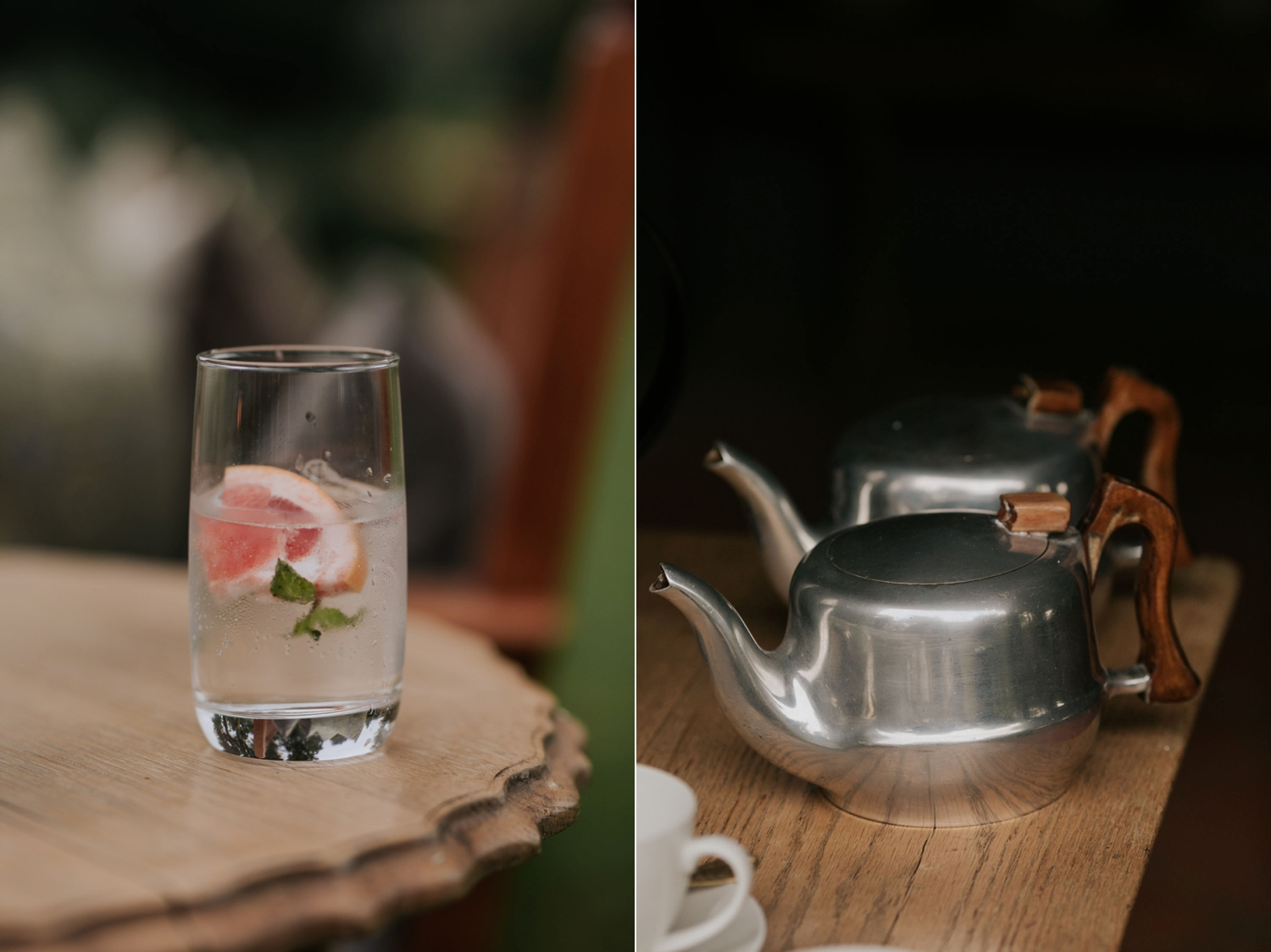Refreshments for cocktail hour at a wedding ceremony. Gin and tonic station with grapefruit and other garnishes and a vintage pot of tea.