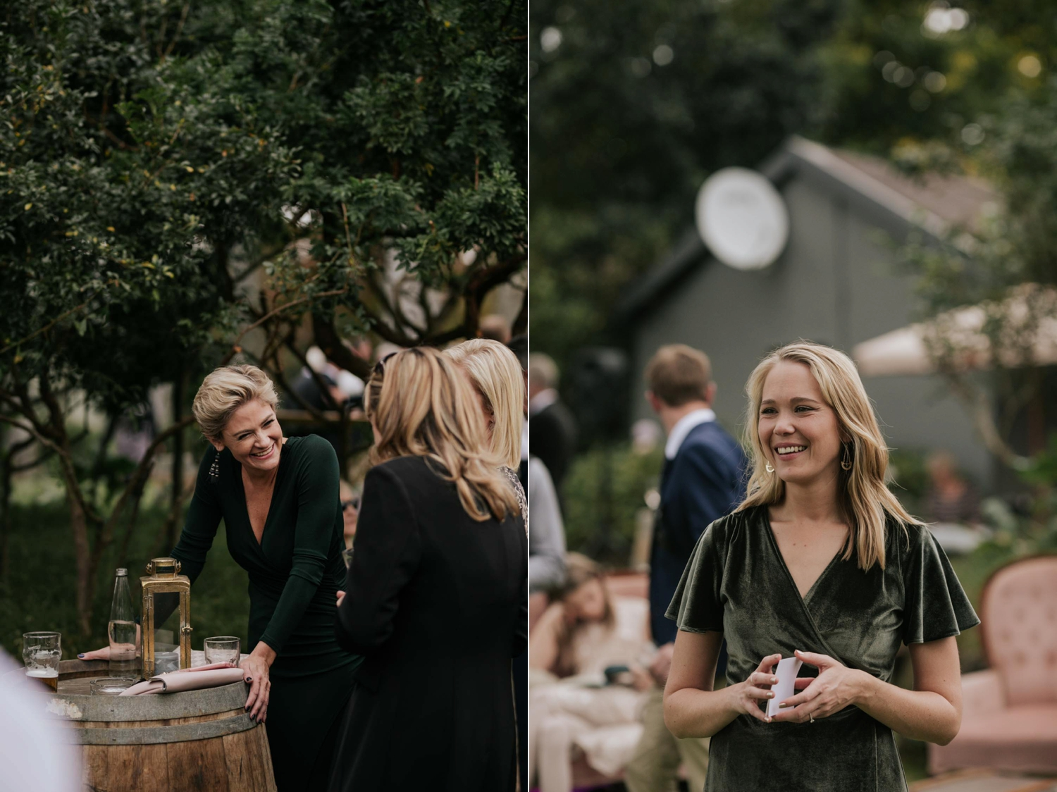 Candid moments of guests during cocktail hour at wedding standing under trees and having a good time. Documentary style wedding photography in Vancouver.