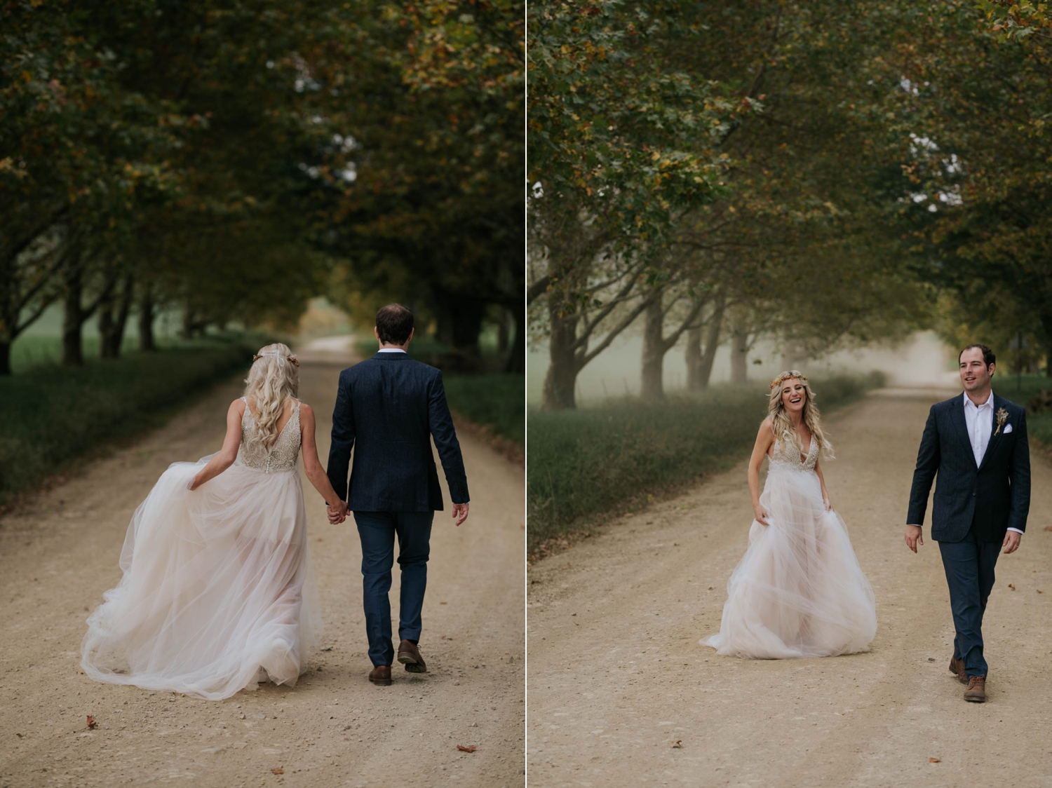 Bride and groom walking down farm road and laughing together under Autumn trees in the Natal Midlands.